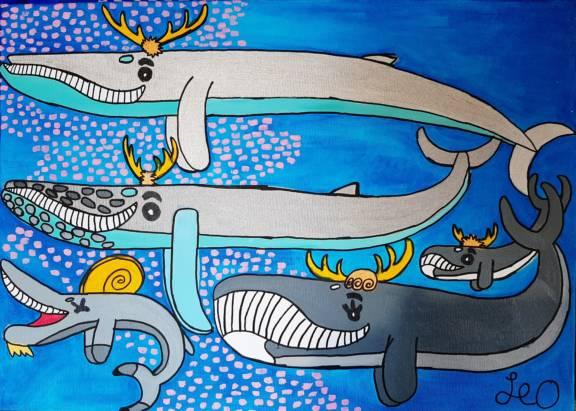 2020 le balene renne al pascolo 50x70