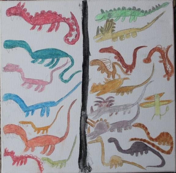 2014 dinosauri, 30x30 collezione privata