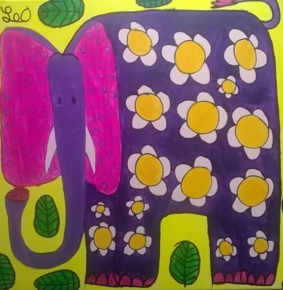 2019 elefante viola con i fiori 40x40